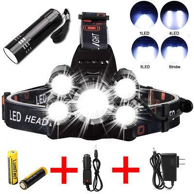 - Super-bright 90000LM 5 X XM-L T6 LED Headlamp Headlight Flashlight Head Torch