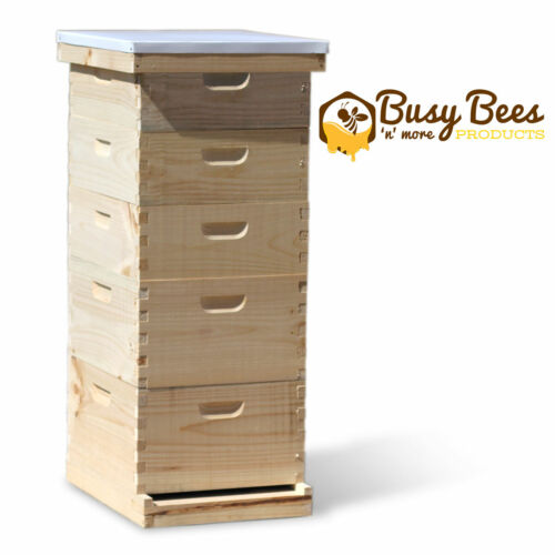 Complete Langstroth Bee Hive 10 Frame 2 Deep Boxes 3 Medium Boxes Free Shipping
