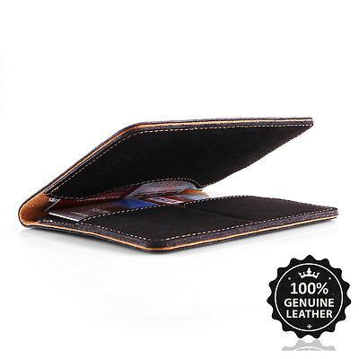 Surazo® Echtes Leder Premium Slim Brieftasche Leather Wallet Geldbörse Geldbeute - Schwarz Leather Slim Wallet