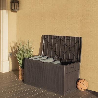 Outdoor Storage Deck Box Large Chest Bin Patio Garden 120-Gal Container Brown