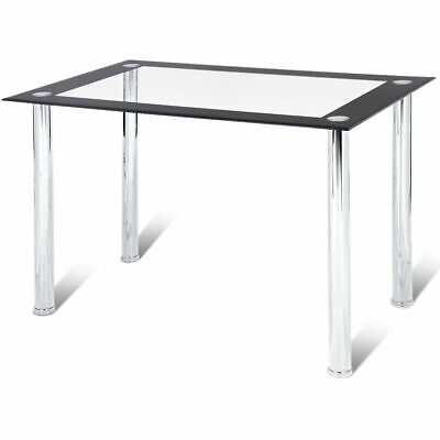 Modern Dining Table Tempered Glass Top Steel Frame Kitchen Breakfast Furniture ()