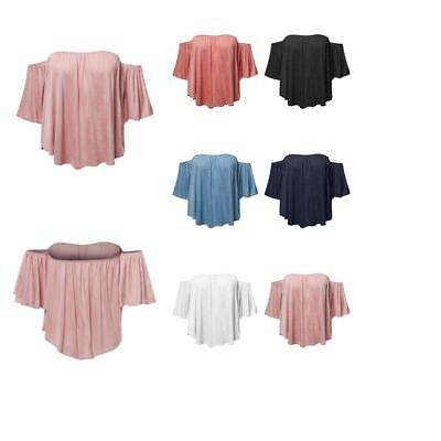 FashionOutfit Women's Casual Solid Elastic Shoulder Line Off-Shoulder Ruffle Top