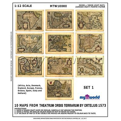 Conjunto De 10 Miniatura para Casa de Muñecas Antiguo Mapas De 1500s...