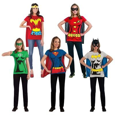 Rubies Female Superhero Adult Women DC Comics T-Shirt Set Halloween Costume - Female Superhero Shirts