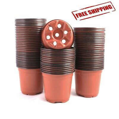100Pcs Plastic Nursery Pots Seedling Flower Plant Container Garden Starting Seed