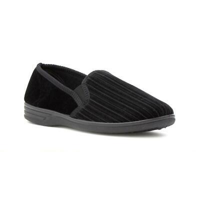 Mens Black Striped Slippers Slip On Comfy Indoor Slipper The Slipper Company
