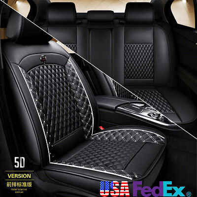 PU Leather Car Seat Covers for Auto SUV Truck Front & Rear Black White Universal