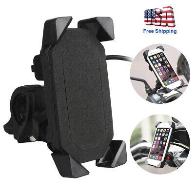 Motorcycle Handlebar Cell Phone Mount Holder + USB Charger for Smartphone (Best Cellular Phones)