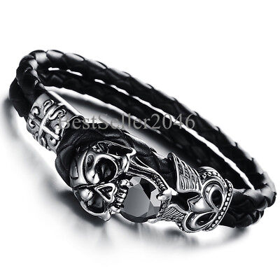 Men Vintage Skull Cross Double Layer Black Braided Genuine Leather Bracelet 8.5""