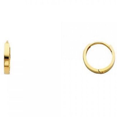 Polished 2mm Square Tube Plain Flat Huggies Hoop Solid 14K Yellow Gold Earrings