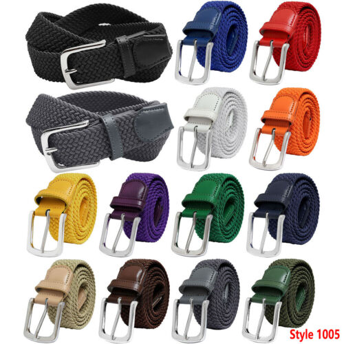 Falari Silver Black Buckle Braided Stretch Belt Canvas Fabric Woven Elastic Belt