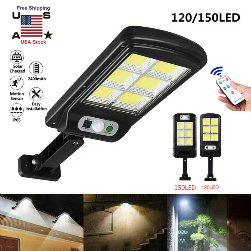 500W Solar Street Wall Light PIR Motion Sensor LED Outdoor Yard Lamp+Remote