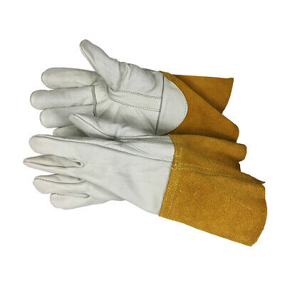 Aa Grade Mig Welding Gloves Cow Grain Palm Back Straight Thumb 4 Split Cuff
