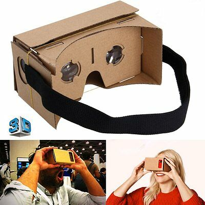 Google Cardboard Headset 3D Virtual Reality VR Goggles for ANDROID iPHONE iOS US