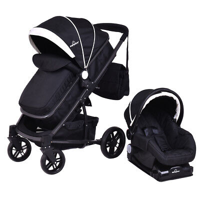 3 In1 Foldable Baby Kids Travel Stroller Newborn Infant Pushchair Buggy Black