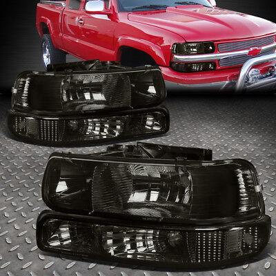 FOR 1999-2002 CHEVY SILVERADO SMOKED HOUSING CLEAR CORNER HEADLIGHT UPPER+LOWER