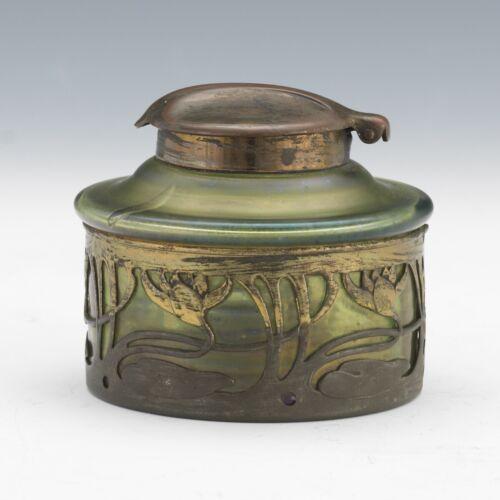 Bohemian Art Nouveau Loetz Iridescent Green Glass Inkwell Deutsches Reichs