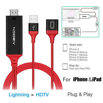 Lightning to HDMI Cable HDTV TV AV Adapter for Apple iPhone X 8 7 6S 6 Plus iPad