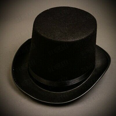 Black Classic Adult Men Top Hat Victorian Dickens Steampunk Hat Deluxe Costume - Top Costumes For Men
