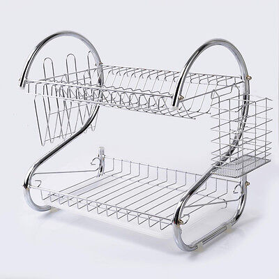 Chrome 2 Tiers Dish Drying Rack Drainer Tray Kitchen Plate Cup Holder Storage
