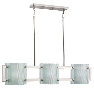Contemporary Brushed Nickel Finish Pendant Island Kitchen Chandelier Etched -