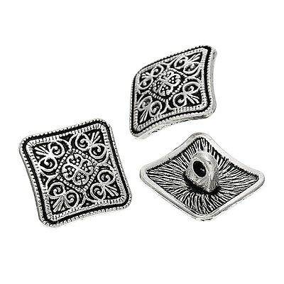 (PEPPERLONELY Brand 10PC Sewing Metal Buttons Square Antique Silver Flower Patter)