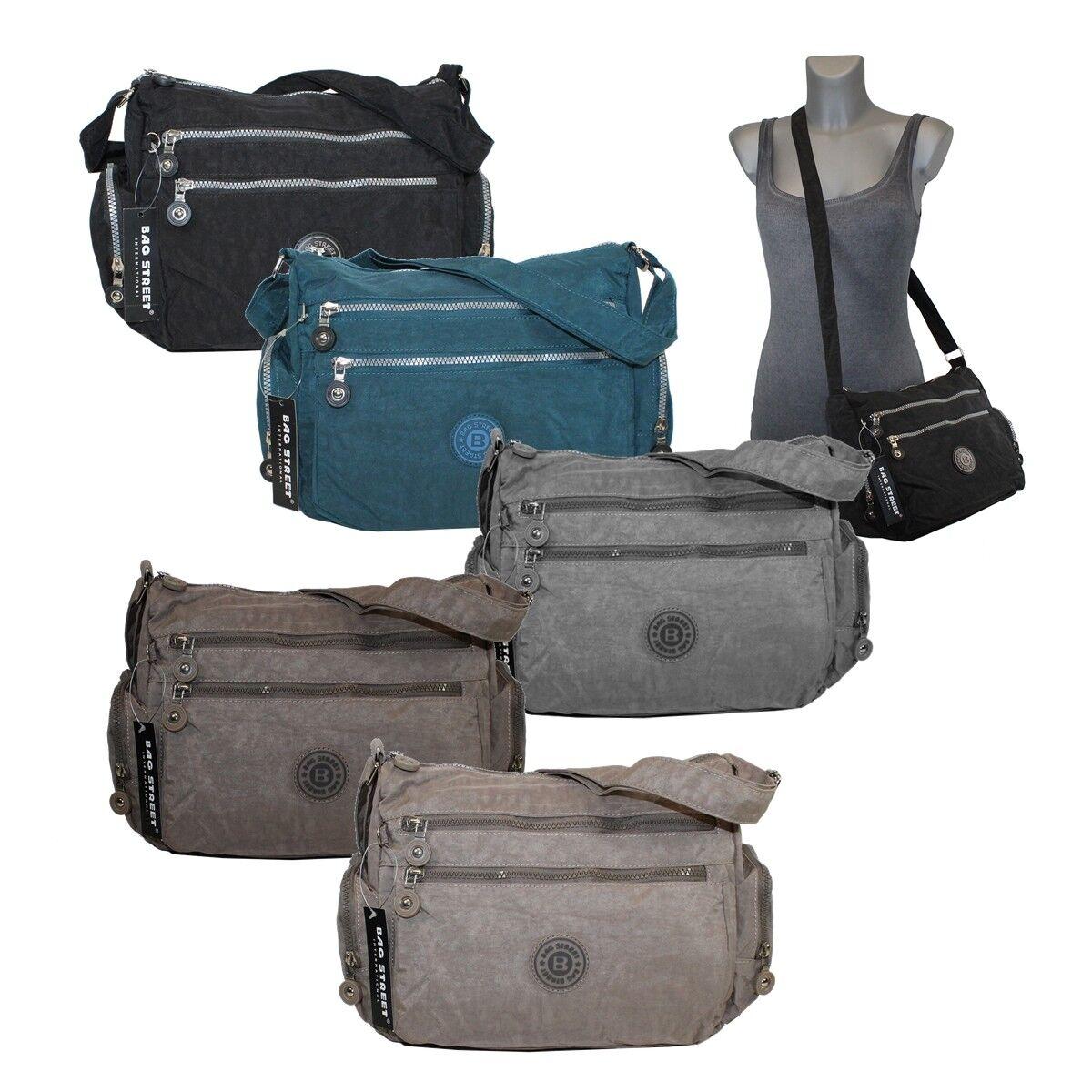 Bag Street Damen Umhängetasche Handtasche Crincle Nylon Tasche 2228 ++