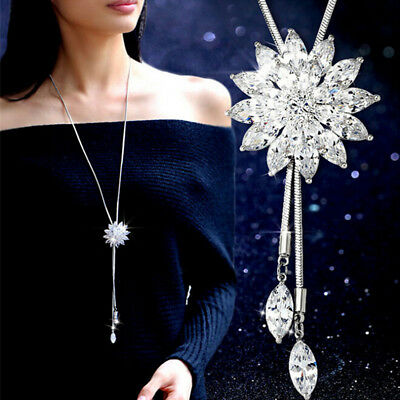 Women Rhinestone Snowflake Pendant Long Chain Sweater Necklace Jewelry Fashion