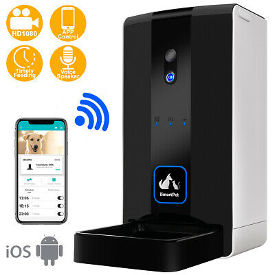 iSmartPet Pet Automatic Feeder Dog Cat Food Dispenser Smart App WiFi Camera...