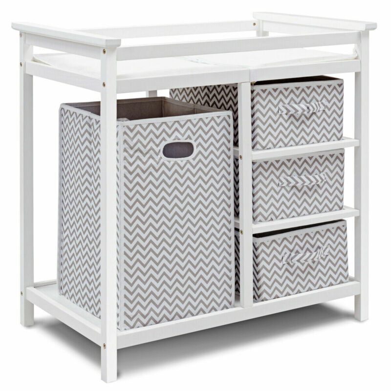 Gray Infant Baby Changing Table w/3 Basket Hamper Diaper Storage Nursery New