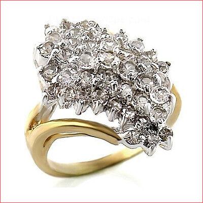 HUGE 3.0 CARAT DIAMOND CLUSTER 14K YELLOW GOLD FN VINTAGE COCKTAIL RING