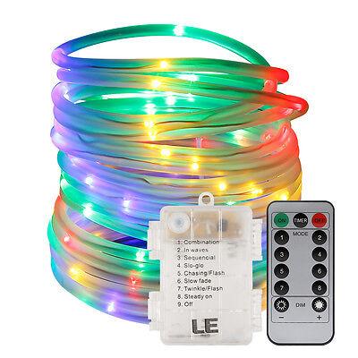 LE 33FT RGB LED Strip Light Rope 120 Fairy Tube Outdoor Garden Christmas Decor