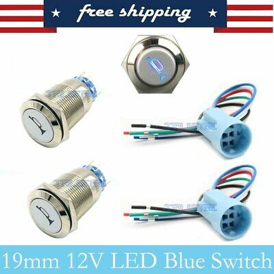 2pcs 19mm Blue Led Momentary Horn Button Metal Push Button Lighted Switch 12v