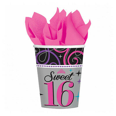 Sweet Sixteen Party (8 Classic Sweet Sixteen 16 16th Birthday Party Prismatic 9oz Paper Cups)