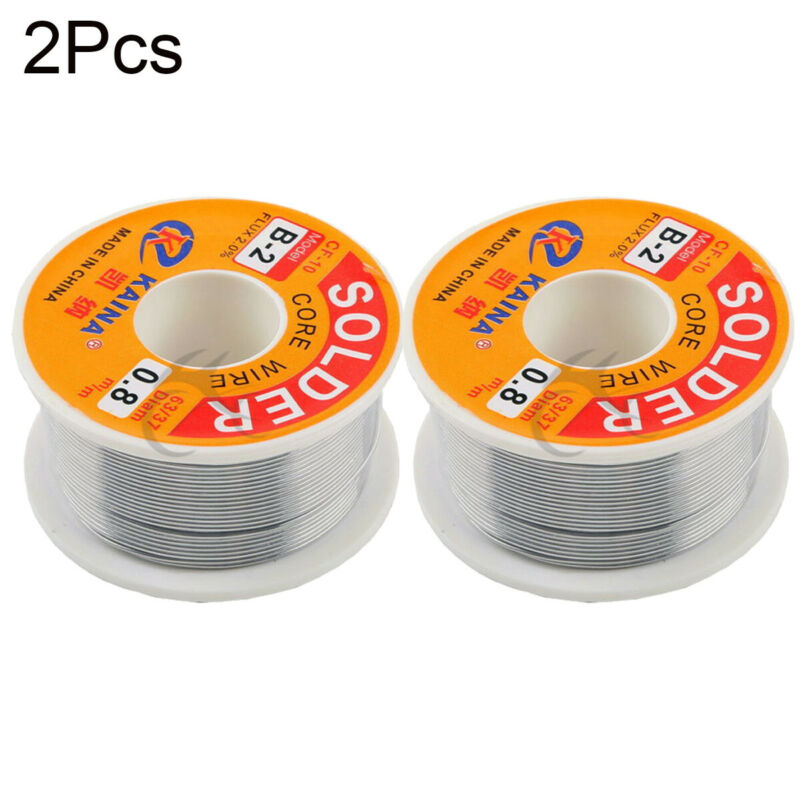 2X 63/37Tin Lead Line Soldering 0.8mm Rosin Core Solder Flux Welding Wire Reel