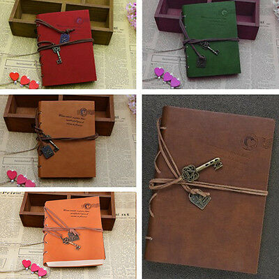 Vintage Leather Key Retro Notebook Journal Diary String Sketchbook Blank Pages