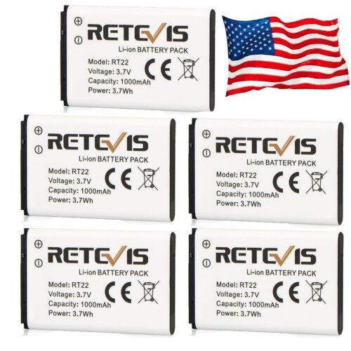 5x Original Li-ion Battery 3.7V 1000mAh For Retevis RT22// KD-C1 Walkie Talkie US