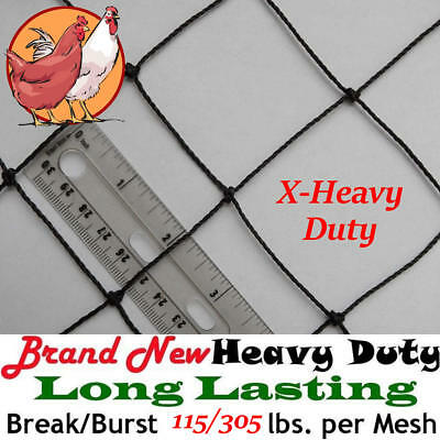"Poultry Netting 25' x 150' X-Heavy Knotted 2"" Mesh Aviary Bird Net Polyethylene"