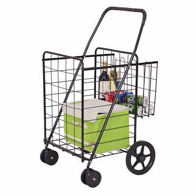 Folding Shopping Cart Jumbo Basket With Swivel Wheels 88 Lbs Capacity Black