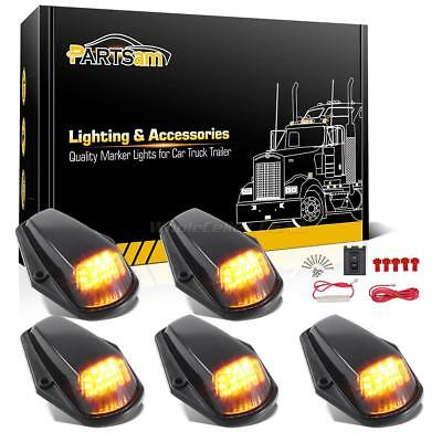5xAmber LED Black Lens Cab Roof Top Lights+Wire for Ford F-150 F-250 F-350 80-97