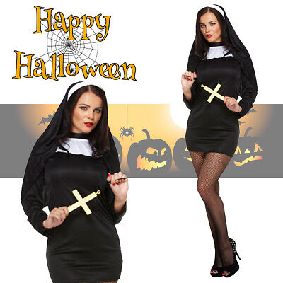 Adult Women's Sexy Nun Costume Halloween Fancy Dress Hen Stag Party Outfit (Nun Halloween Outfit)