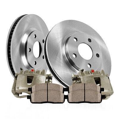 For 6 Lug Ford F150 Lincoln Mark LT Rear Brake Calipers Rotors & Ceramic Pads