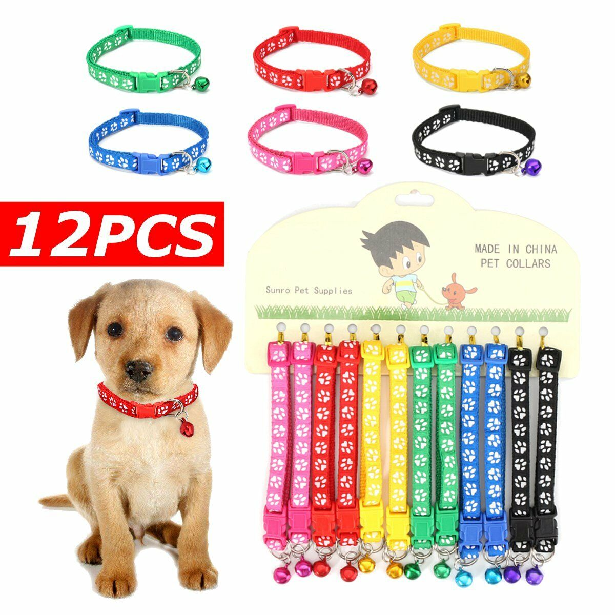 12PCS/Lot Dog Collars Pet Cat Nylon Collar with Bell Necklace Buckle