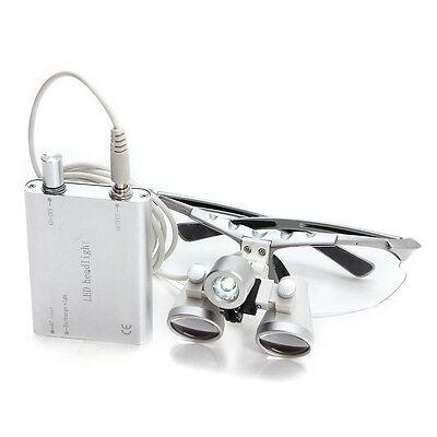 Dental Headlight Led Lamp Surgical Medical Binocular Loupes 3.5320mm Silver