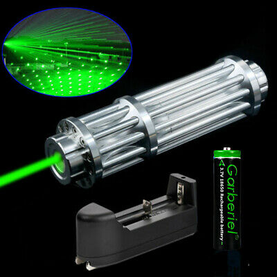 Tactical 532nm Green Laser Pointer Pen Zoom Visible Beam Light 18650 Charger 1 W