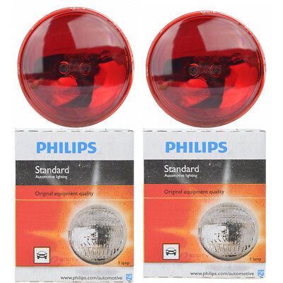 (Two Philips Standard Sealed Beam Red Light Bulb 4416RC1 for 4416R PAR-36 lk)