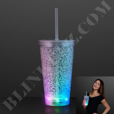 CRACKED ICE NEW DESIGN LED LIGHT UP TUMBLER DRINKING CUP - Led Light Up Cups