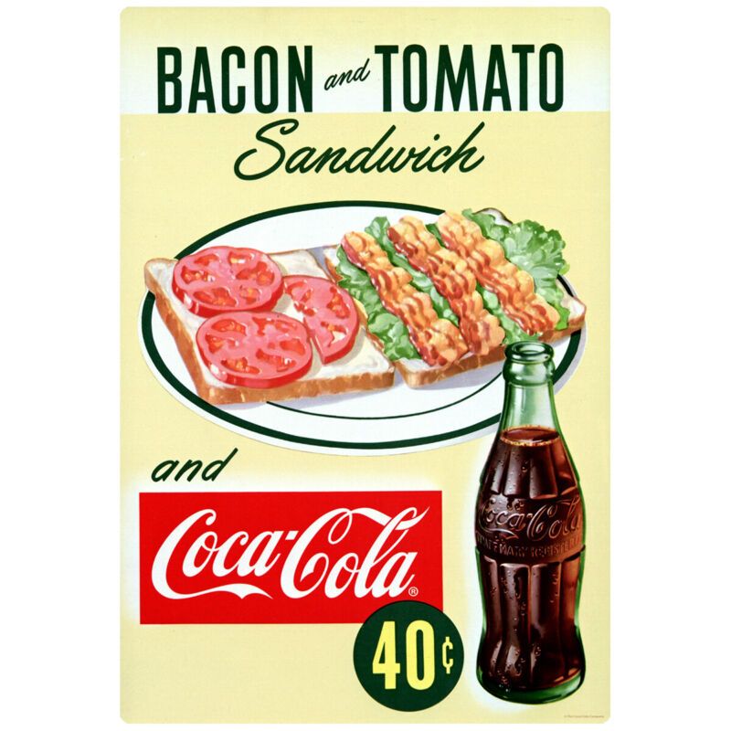 Coca-Cola Bacon Tomato Sandwich Wall Decal 1950s Diner 16 x 24 Vintage Style