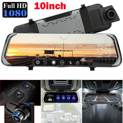 "10"" FHD 1080P Car DVR Rearview Mirror Dash Cam Dual Lens Front and Rear Camera"