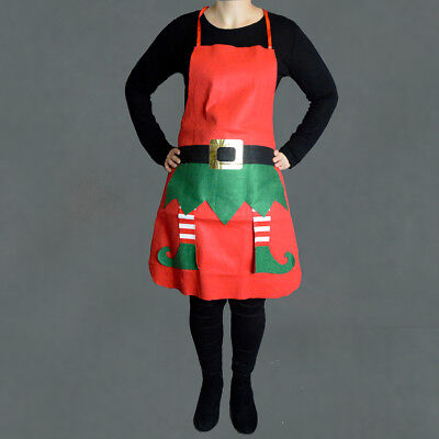 Elf Apron Santa Christmas Buckle and Belt Legs Festive Party Dress Up Chef